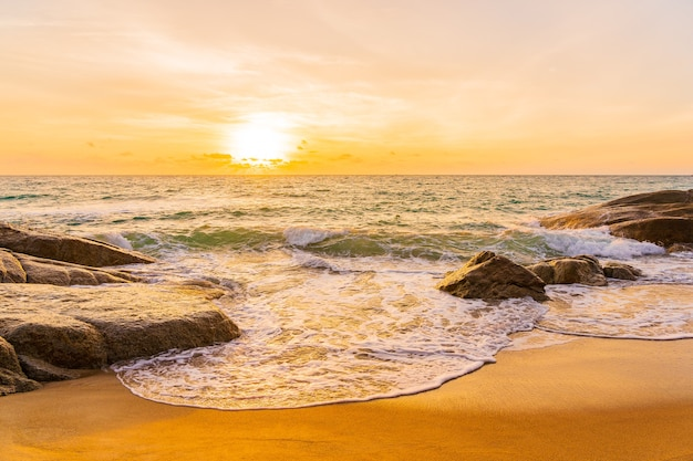 Piękna tropikalna plaża morze ocean wokół palmy kokosowej o zachodzie słońca lub wschodzie słońca na tle podróży wakacyjnych