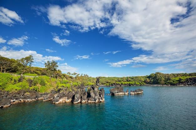 Piękna tropikalna plaża na wyspie maui na hawajach