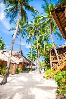 Piękna tropikalna plaża z palmami, białym piaskiem, turkusową oceaniczną wodą i niebieskim niebem