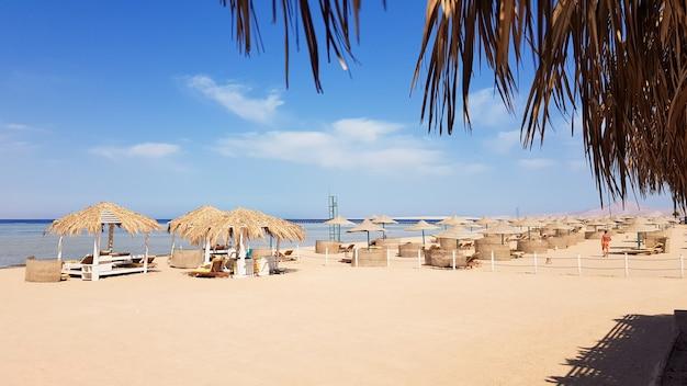 Piękna tropikalna plaża z parasolami krytymi strzechą nad brzegiem morza czerwonego w sharm el sheikh. letni krajobraz piękna słoneczna plaża w egipcie. pojęcie wakacji, podróży, wakacji.