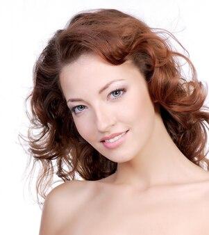 Piękna twarz kobiety szczegół.