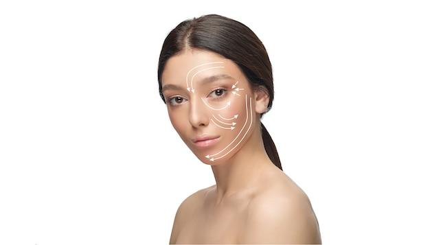 Piękna twarz kobiety z podnoszeniem strzałki na białym tle. koncepcja pielęgnacji ciała, kosmetyki, pielęgnacji skóry, chirurgii korekcyjnej, piękna i doskonałej skóry. ulotka do reklamy. przeciw starzeniu.