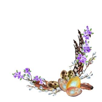 Piękna wielkanocna realistyczna półkolista ramka z jajami, piórami, wierzbą i gałęziami bzu. akwarela ilustracja