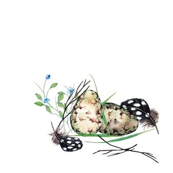 Piękna wiosenna kompozycja realistycznych jaj przepiórczych z suchymi gałęziami, piórami i świeżą trawą leśną. akwarela ilustracja