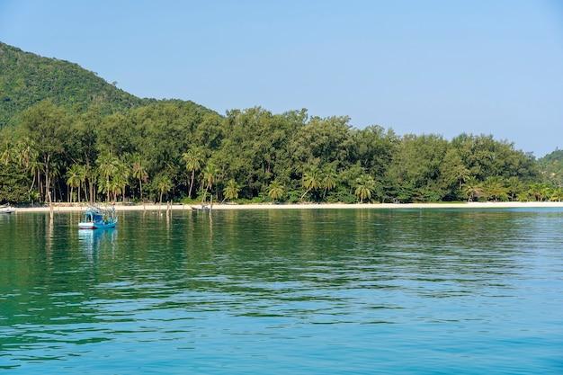 Piękna zatoka malibu z palmami i łodziami. tropikalna plaża i woda morska na wyspie koh phangan, tajlandia