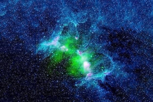 Piękna zielona galaktyka w kosmosie. elementy tego obrazu dostarczyła nasa. zdjęcie wysokiej jakości