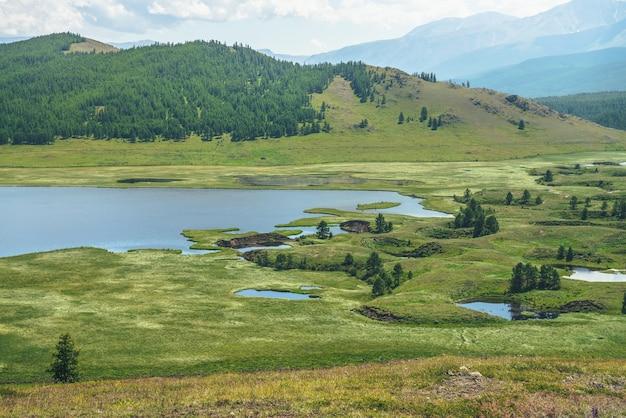 Piękna zielona górska sceneria z systemem jezior na płaskowyżu wśród leśnych wzgórz. malowniczy krajobraz z grupą jezior na płaskowyżu. niebieski system jezior i kanałów w szerokiej dolinie. system jezior górskich