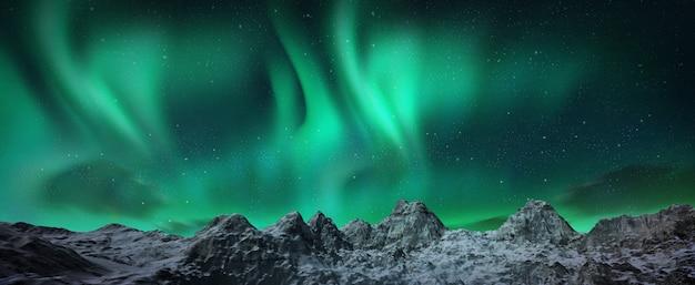 Piękna zielona i czerwona zorza tańcząca nad wzgórzami