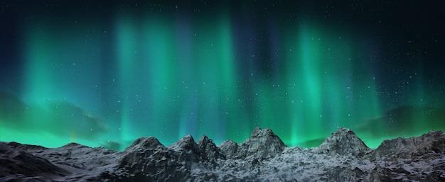 Piękna zielona zorza tańcząca nad wzgórzami.