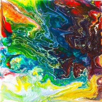 Piękne abstrakcyjne tło. wylewanie farby akrylowej na płótno. sztuka współczesna.