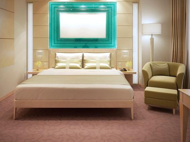 Piękne apartamenty hotelowe z panelami ściennymi, podwójnym łóżkiem, fotelem z poduszkami, lampą podłogową z białym kloszem. renderowania 3d