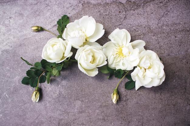Piękne białe kwiaty z miejsca na kopię. dekoracyjna kompozycja kwiatowa. zbliżenie białych róż