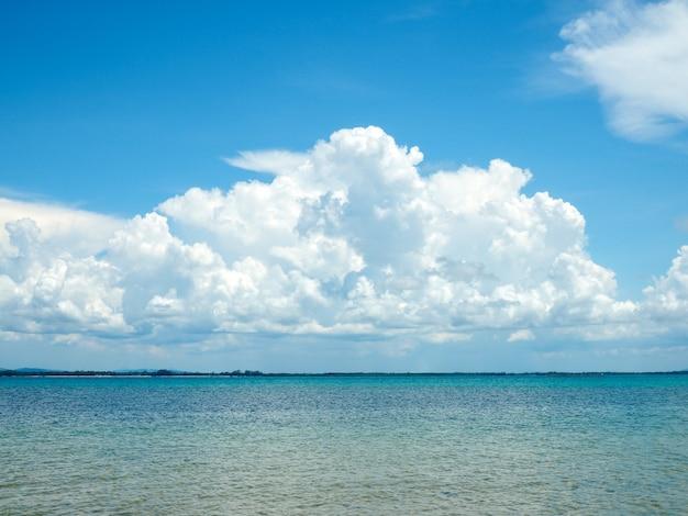 Piękne błękitne morze na tle nieba i białych chmur.