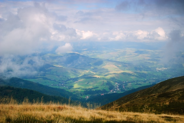 Piękne Błękitne Niebo I Sucha Trawa Premium Zdjęcia