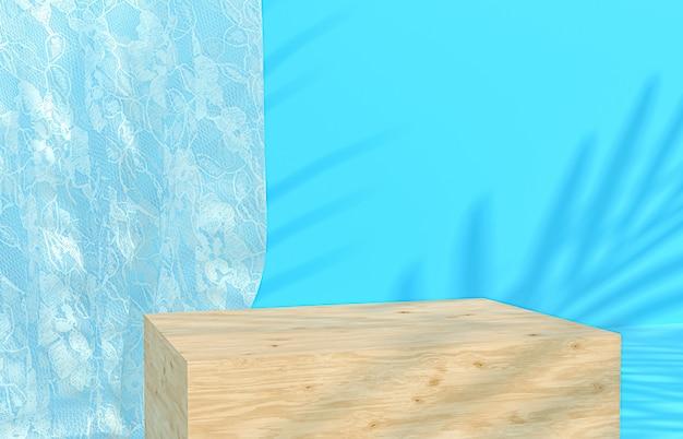Piękne drewniane podium niebieskie tło do wyświetlania produktów z tropikalnymi liśćmi palmowymi