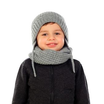 Piękne dziecko z wełny szalik i płaszcz