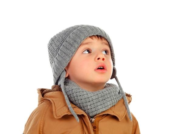 Piękne Dziecko Z Wełny Szalik I Płaszcz Premium Zdjęcia