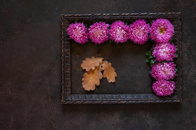 Piękne fioletowe jesienne kwiaty astery z kwiatową dekoracją przestrzeni kopii.