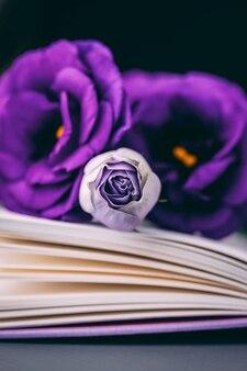 Piękne fioletowe kwiaty goryczki eustoma prerii i książki