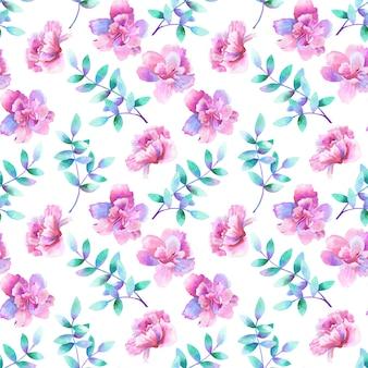 Piękne fioletowe różowe kwiaty i zielone fioletowe gałęzie. kwiatowy wzór. ręcznie rysowane akwarela ilustracja. tekstura do druku, tkaniny, tkaniny, tapety.