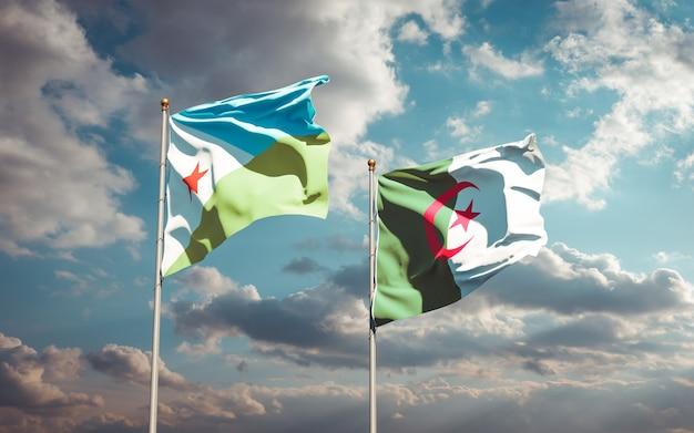 Piękne flagi narodowe na tle nieba