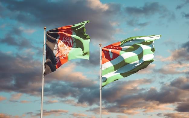 Piękne flagi państwowe abchazji i afganistanu