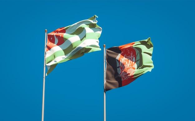 Piękne flagi państwowe afganistanu i abchazji