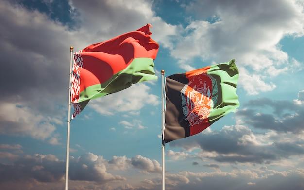 Piękne flagi państwowe afganistanu i białorusi