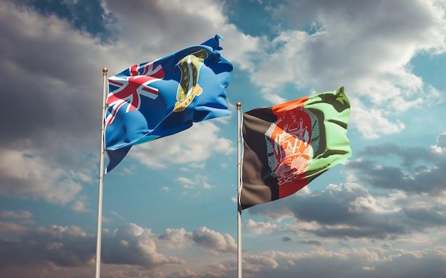 Piękne flagi państwowe afganistanu i brytyjskich wysp dziewiczych