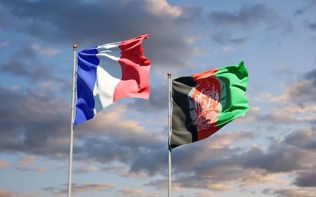 Piękne flagi państwowe afganistanu i francji