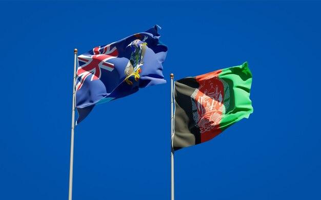 Piękne flagi państwowe afganistanu i georgii południowej oraz wysp sandwich