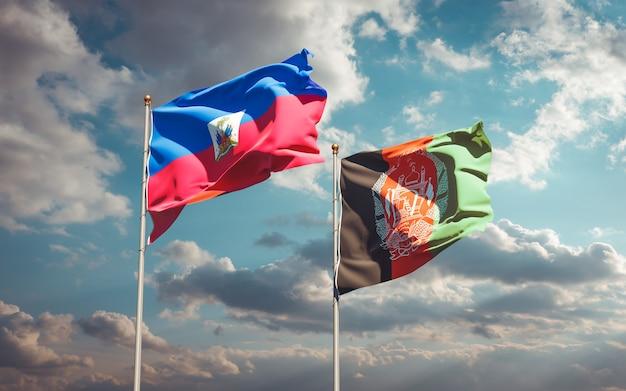 Piękne flagi państwowe afganistanu i haiti