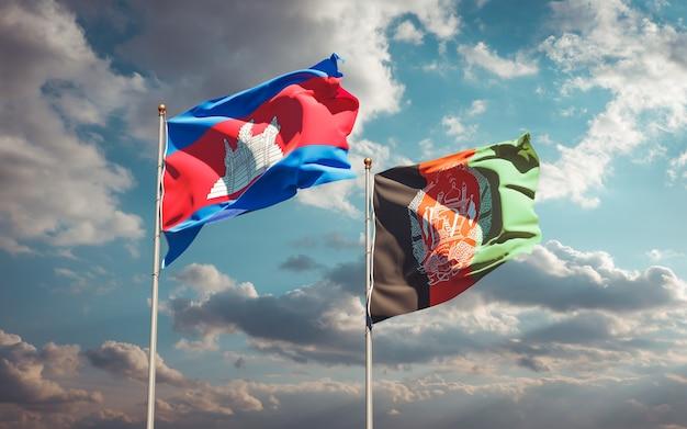 Piękne flagi państwowe afganistanu i kambodży