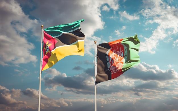 Piękne flagi państwowe afganistanu i mozambiku