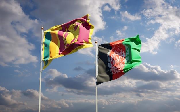 Piękne flagi państwowe afganistanu i sri lanki