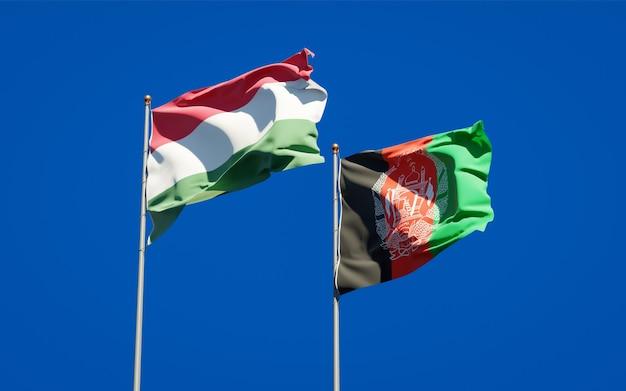Piękne flagi państwowe afganistanu i węgier