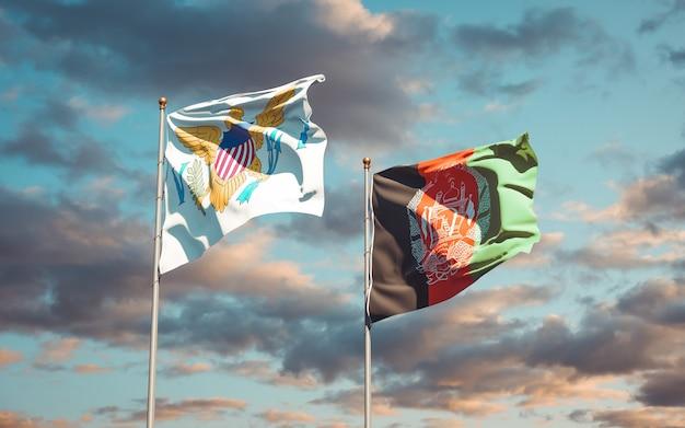 Piękne flagi państwowe afganistanu i wysp dziewiczych stanów zjednoczonych