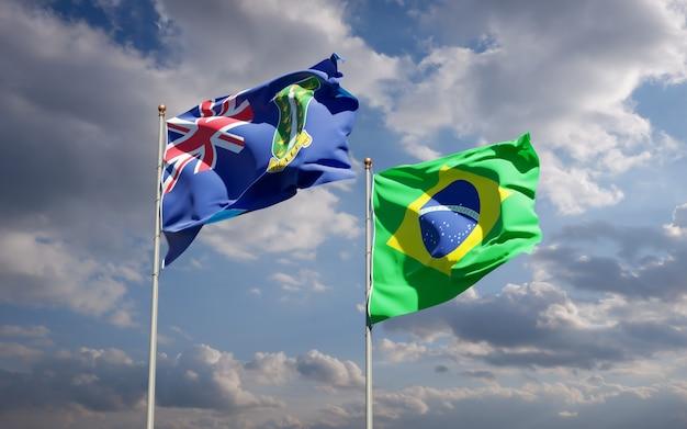 Piękne flagi państwowe brazylii i brytyjskich wysp dziewiczych razem na błękitnym niebie