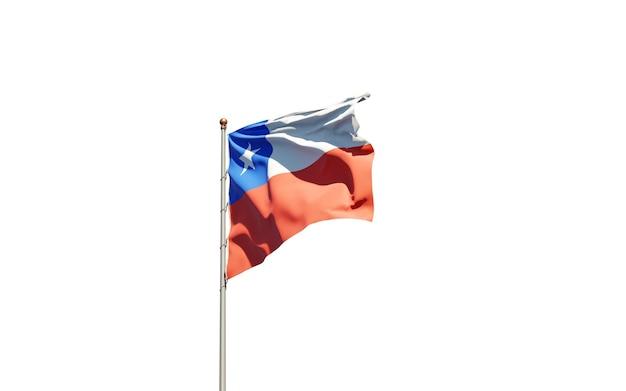 Piękne flagi państwowe chile na białym tle.