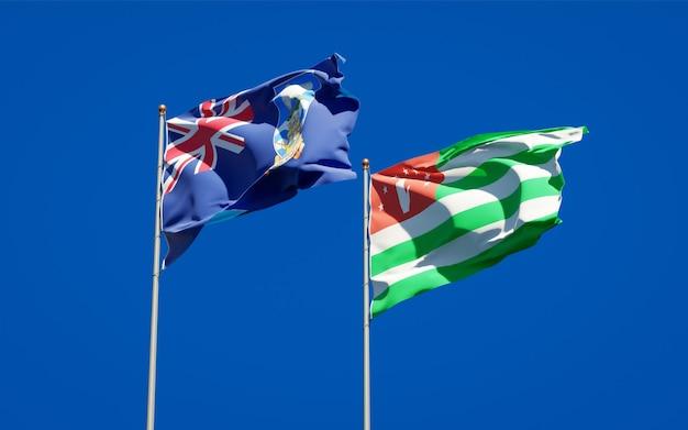 Piękne flagi państwowe falklandów i abchazji razem
