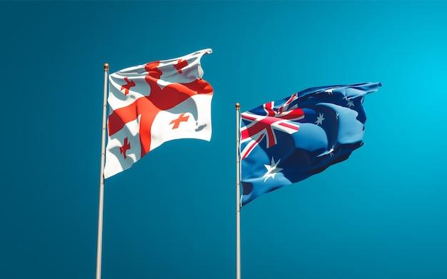 Piękne flagi państwowe gruzji i australii razem