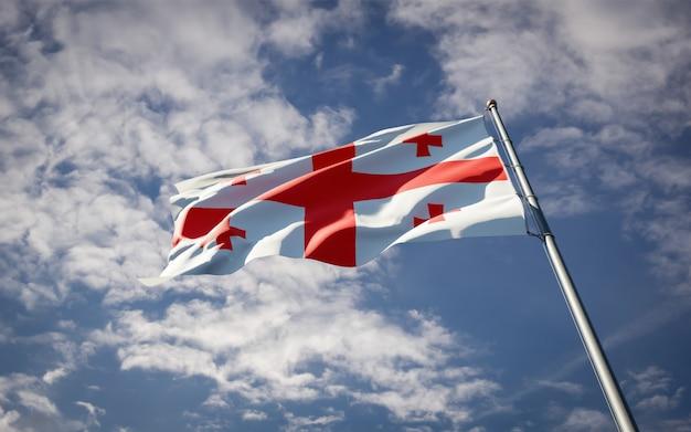 Piękne flagi państwowe gruzji powiewające