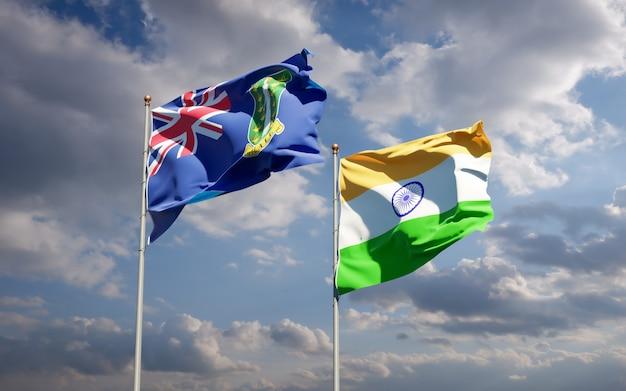 Piękne flagi państwowe indii i brytyjskich wysp dziewiczych razem