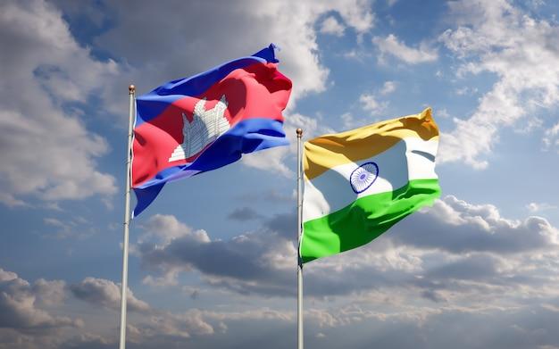 Piękne flagi państwowe indii i kambodży razem