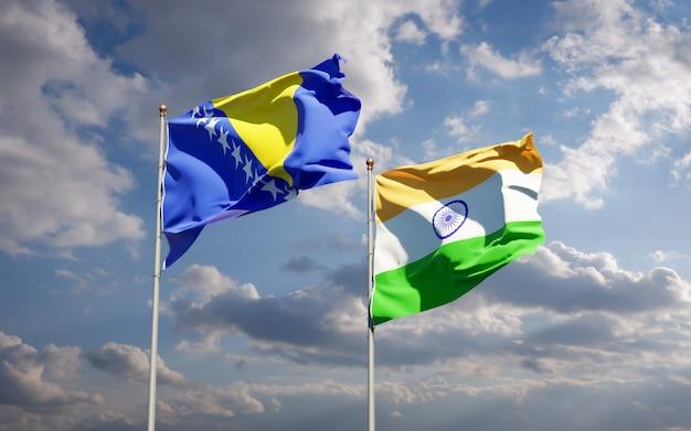 Piękne flagi państwowe indii oraz bośni i hercegowiny razem