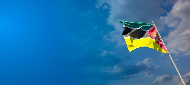 Piękne flagi państwowe mozambiku z pustą przestrzenią na szerokim tle z miejscem na tekst grafiki 3d.
