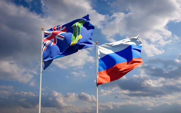 Piękne flagi państwowe rosji i brytyjskich wysp dziewiczych razem na błękitnym niebie. grafika 3d