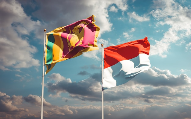 Piękne flagi państwowe sri lanki i indonezji razem na błękitnym niebie