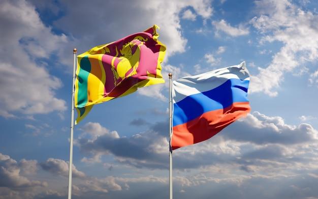 Piękne flagi państwowe sri lanki i rosji razem na błękitnym niebie. grafika 3d