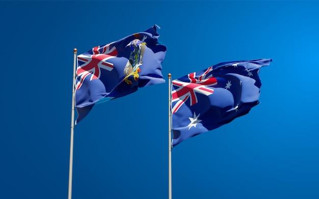 Piękne flagi państwowe stanu georgia południowa i sandwich południowy oraz australii